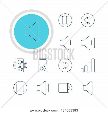 Vector Illustration Of 12 Music Icons. Editable Pack Of Mp3, Audio, Speaker And Other Elements.