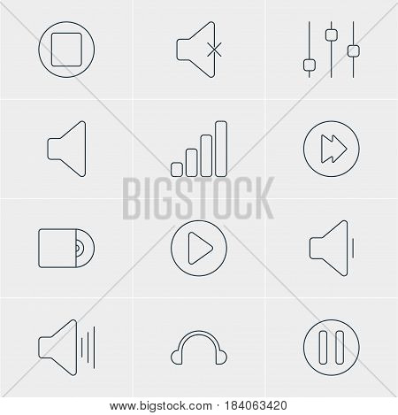 Vector Illustration Of 12 Melody Icons. Editable Pack Of Lag, Earphone, Compact Disk And Other Elements.