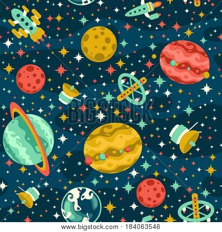 Seamless pattern with planets, stars and various spaceships