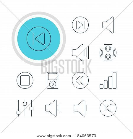Vector Illustration Of 12 Melody Icons. Editable Pack Of Volume Up, Audio, Preceding And Other Elements.