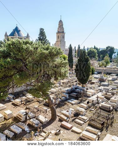 View of the Dormition Abbey and the old cemetery from the wall of the Old City of Jerusalem, Israel