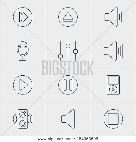 Vector Illustration Of 12 Music Icons. Editable Pack Of Speaker, Stabilizer, Advanced And Other Elements.