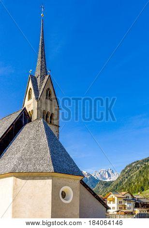 Italy Dolomites Pozza di Fassa the parish church