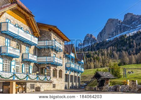 Pozza di Fassa Italy - April 28 2012: The hotel of the village