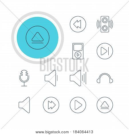 Vector Illustration Of 12 Music Icons. Editable Pack Of Mp3, Amplifier, Advanced And Other Elements.
