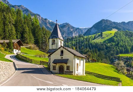 Italy Dolomites Tiers the St Cipriano church