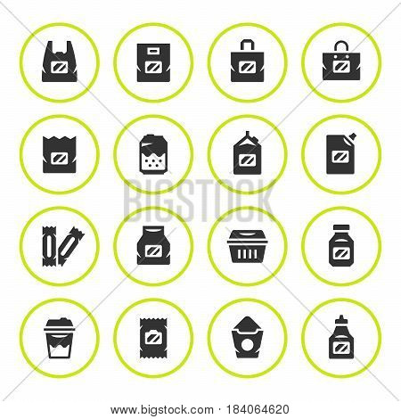 Set round icons of package isolated on white. Vector illustration