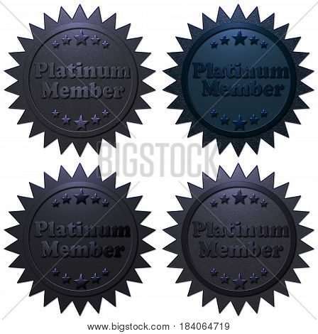 A set of four different Platinum Member 3D metallic seals