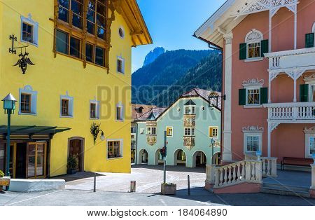 Italy Dolomites Ortisei traditional houses and stores of the historic town center