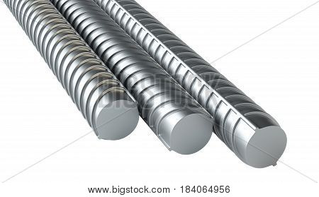 Reinforcement bars, isolated on white background. 3d rendering illustration. Close-up
