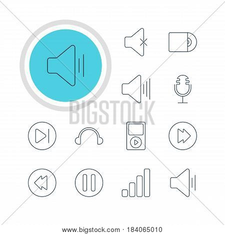 Vector Illustration Of 12 Melody Icons. Editable Pack Of Subsequent, Lag, Volume Up And Other Elements.