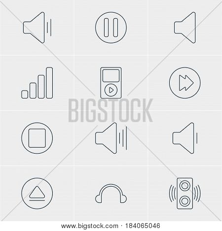 Vector Illustration Of 12 Melody Icons. Editable Pack Of Amplifier, Mp3, Rewind And Other Elements.