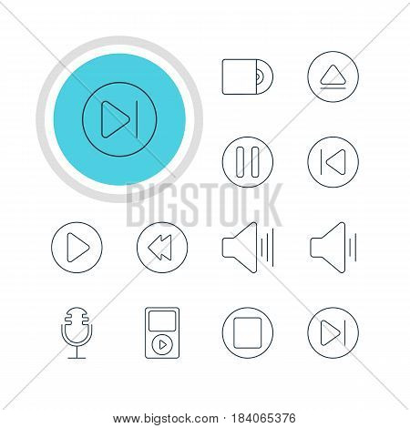 Vector Illustration Of 12 Melody Icons. Editable Pack Of Mp3, Subsequent, Rewind And Other Elements.
