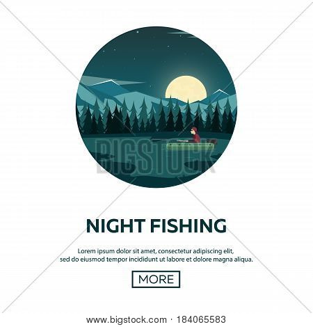Fishing On A Mountain Lake. Sunset In The Mountains. Night Fishing.