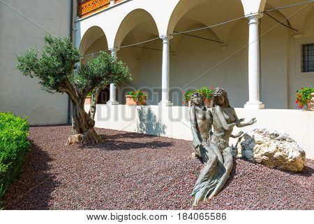 San Michele All'Adige Italy - June 28 2012:a sculpture made by Filip Moroder Doss in the side entrance of the Agostiniana abbey headquarter of the Fondazione Edmund Mach