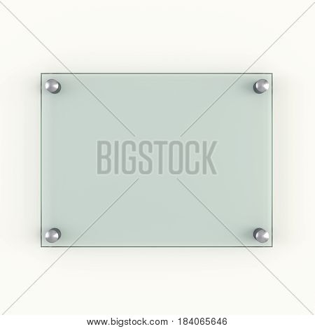 Green protection glass plate fastened to wall with metal rivets. 3d illustration
