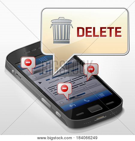 Smartphone with message bubble about data delete. Dialog box pop up over screen of phone. Qualitative vector illustration about smartphone file removing mobile technology erasing notification etc