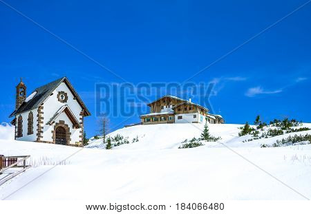 Italy Dolomites the church and the retreats of Rolle Pass