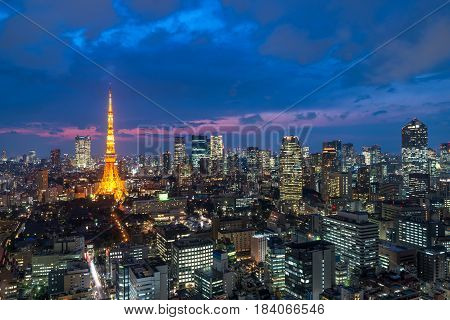 Tokyo at Nigh view of Tokyo tower Tokyo city skyline Tokyo Japan