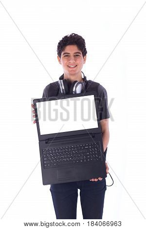 Portrait of smiley happy friendly young student holding a labtop teenager wearing gray t-shirt and jeans with a headphone and backbag isolated white background