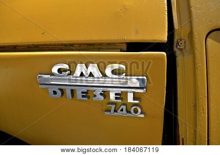 COZUMEL, MEXICO, February 22, 2107: The GMC logo on an old pickup  an American multinational corporation know as General Motors headquartered in Detroit, Michigan, that designs, manufactures, markets, and distributes vehicles and vehicle parts, and sells