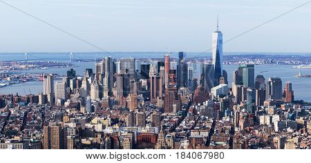 New York - April of 2015, USA: Aerial view of Manhattan skyline with downtown and One World Trade Center