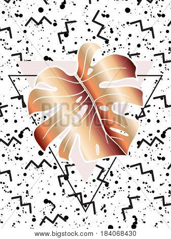 Abstract creative poster. Geometric shapes and monstera leaf. In the style of art deco and Memphis. Bronze tropical leaf on the black texture spray and zigzag. Use for cover design or placard.