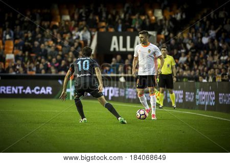 VALENCIA, SPAIN - APRIL 26: Siqueira with ball during La Liga match between Valencia CF and Real Sociedad at Mestalla Stadium on April 26, 2017 in Valencia, Spain