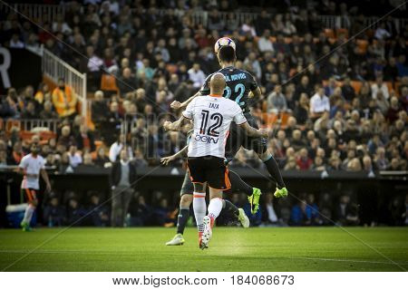 VALENCIA, SPAIN - APRIL 26: Zaza and navas during La Liga match between Valencia CF and Real Sociedad at Mestalla Stadium on April 26, 2017 in Valencia, Spain