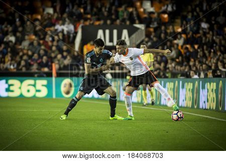 VALENCIA, SPAIN - APRIL 26: Munir with ball during La Liga match between Valencia CF and Real Sociedad at Mestalla Stadium on April 26, 2017 in Valencia, Spain