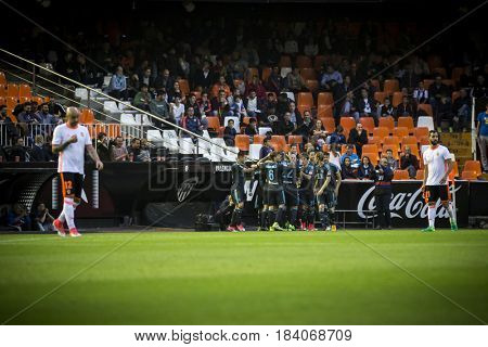 VALENCIA, SPAIN - APRIL 26: Real Sociedad players celebrate a goal during La Liga match between Valencia CF and Real Sociedad at Mestalla Stadium on April 26, 2017 in Valencia, Spain