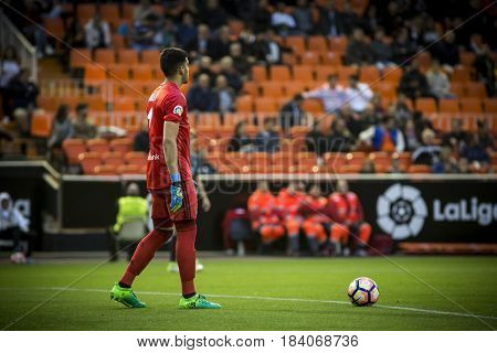 VALENCIA, SPAIN - APRIL 26: Geronimo Rulli during La Liga match between Valencia CF and Real Sociedad at Mestalla Stadium on April 26, 2017 in Valencia, Spain