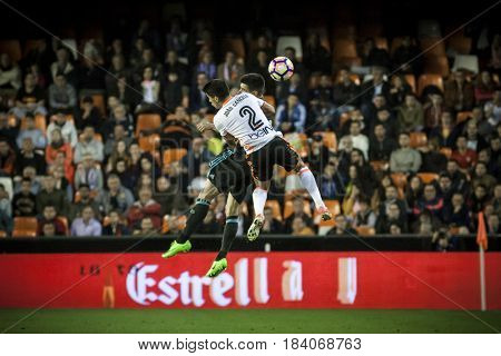 VALENCIA, SPAIN - APRIL 26: (2) Cancel during La Liga match between Valencia CF and Real Sociedad at Mestalla Stadium on April 26, 2017 in Valencia, Spain