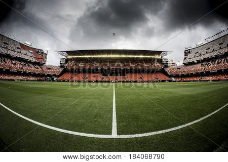 VALENCIA, SPAIN - APRIL 26: Stadium during La Liga match between Valencia CF and Real Sociedad at Mestalla Stadium on April 26, 2017 in Valencia, Spain