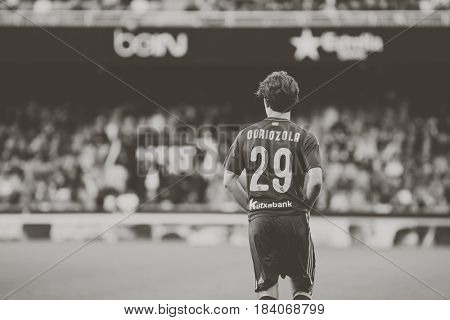 VALENCIA, SPAIN - APRIL 26: Alvaro Odriozola during La Liga match between Valencia CF and Real Sociedad at Mestalla Stadium on April 26, 2017 in Valencia, Spain