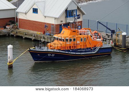 North Shields, United Kingdom - April 28, 2017: RNLB Fraser Flyer (lifeboat number 17-17)  lies in the harbor of North Shields.