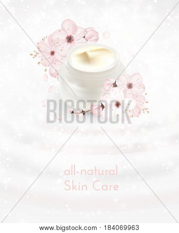 Moisturizing cosmetic ads template. Cream products mockups advertising isolated upon water, nature background against light white bokeh. 3d illustration. moisture face skin care containers