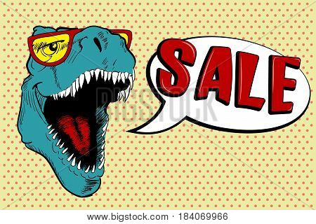 Cool dinosaur dressed in sunglasses calls for sale.Vector poster for to attract of buyers.Pop art style