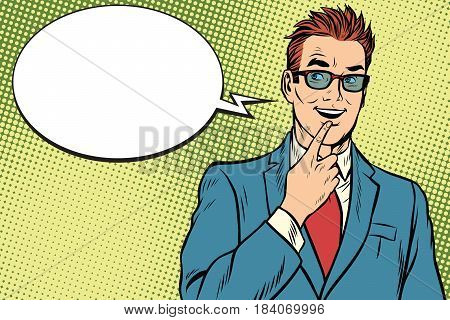 smiling businessman was up to something, a finger to her lips. Pop art retro vector illustration