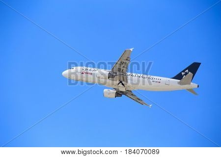 ZURICH - July 30:  Plane taking off from Zurich Airport on July 30, 2016 in Zurich, Switzerland. Zurich airport is home port for Swiss Air and one of the european hubs.