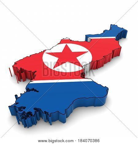 North Korea Map Outline With North Korean Flag 3D Illustration