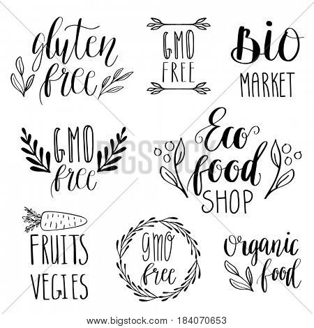 Eco, nature, vegan, bio food logos. Handwritten lettering. Vintage elements for labels, logos, badges, stickers or icons. Calligraphic and typographic collection