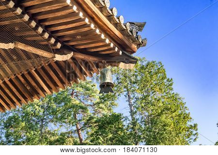 Zen Buddhism Temple Architecture Details With Traditional Bell At Nanzen-ji Temple In Kyoto