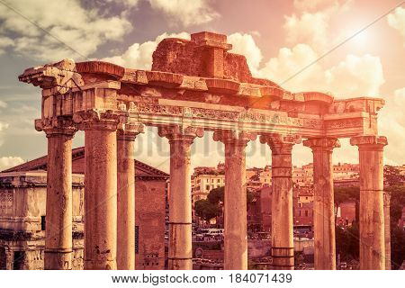 Ruins of temple of Saturn at the Roman Forum in Rome, Italy. The Roman Forum is an important monument of antiquity and is one of the main tourist attractions of Rome.