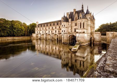 FRANCE - SEPTEMBER 22, 2013: The Chateau de Chenonceau, France. This castle is located near the small village of Chenonceaux in the Loire Valley, was built in the 15-16 centuries and is a tourist attraction.