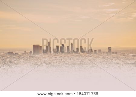 Los Angeles Skyline With Its Skyscrappers From The Hollywood Hills, California, Usa
