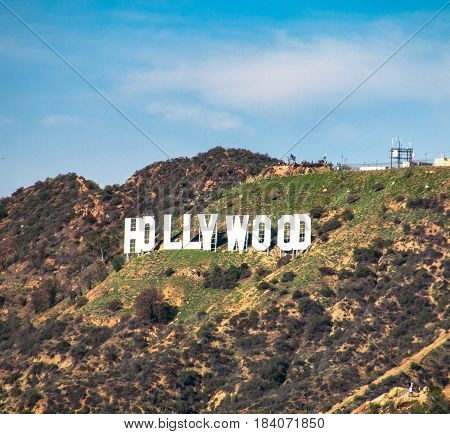 HOLLYWOOD/CALIFORNIA - JANUARY 2017. Hollywood Sign. World famous landmark and American cultural icon on Mount Lee in Hollywood Hills.