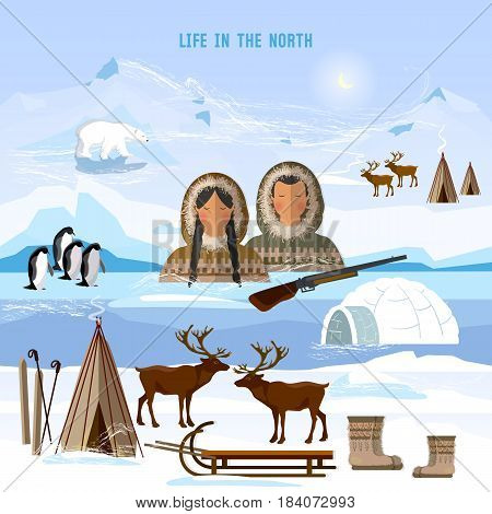 Wild north arctic people in traditional eskimos costume and arctic animals. Life in the far north. Reindeer polar day and polar night. Extreme journey to Alaska