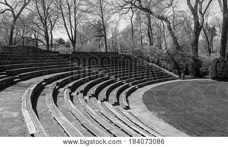 Arena in a park black and white