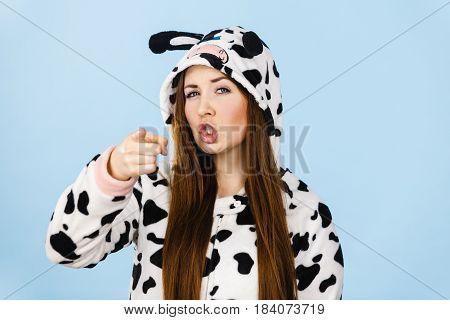 Woman Wearing Pajamas Cartoon Angry Expression